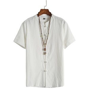 The new summer 2020 young men leisure cotton and linen dish buckle pure color restoring ancient ways shirt collar short sleeve