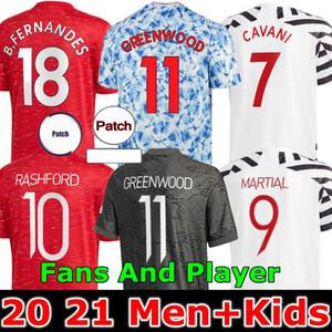 Игрок версия 2020 2021 Manchester Soccer Jerseys United Cavani UTD Van de Beek B. Fernandes Rashford футбольная футболка 20 21 человек + детский комплект