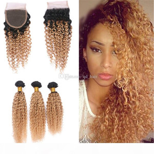 Dark Roots Ombre 1B 27 Curly Hair Weft With Closure 4x4 Honey Blonde 1B 27 Lace Closure With Kinky Curly Hair Extension