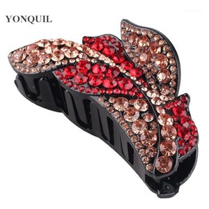 Donne colorate Shiny Rhinestone Hair Claw Bands Crystal HairClips Gramping Capelli clip per forcine Accessori Grip1