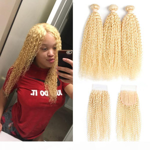 Peruvian Virgin Hair Straight Kinky Curly With Lace Closure with Baby Hair Brazilian 613 Blond Hair 3 Bundles with 4*4 Closure