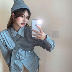 Personalized Lapel folding shoulder sweater blue shirt women's dign