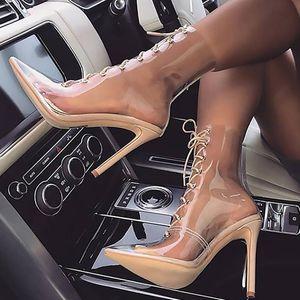 Stylesowner الجدة نجمة نمط المرأة الأحذية مثير شفافة pvc سوبر عالية الكعب 12 سنتيمتر أحذية النساء مثير الدانتيل متابعة الأزياء الأحذية