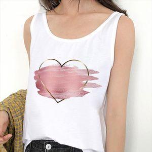 Tanque de Verão Tops Coração Flor Love Gráfico Impressão Senhoras Sexy Vest Camisole Mulheres Tee Tshirt Feminino Casual Solto Sem Mangas
