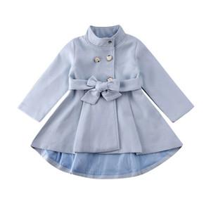 1-5Y Toddler Kid Baby Girl Coat Autumn Winter Warm Windbreaker Bow Outwear Overcoat Raincoat Snowsuit Solid Blue 201106