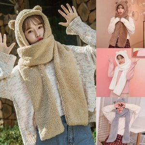 Fashion Winter Women Novelty Caps Warm Cute Bear Ear Hat Casual Plush Hat Scarf Gloves Set Casual Solid Fleece Women Caps