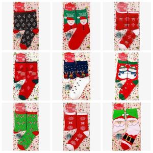 Christmas Women Winter Red Xmas Sock Cute Elk Deer Stocking Cartoon Cotton Keep Warm Adult Girl Boy Soft Socks DHB2119