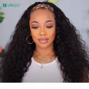 Jungfrau Glueless Water Wave Headband Perücken Brazilian Schal Perücke Remy Human Hair Perücken Für Frauen Anfänger Freundlich