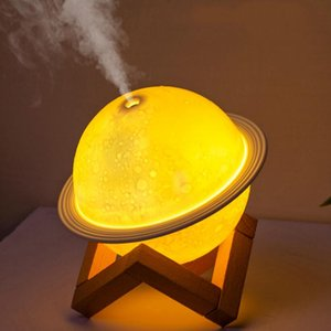 Air Humidifier 3D Moon Lamp light Diffuser Aroma Essential Oil USB Ultrasonic Humidificador Night Cool Mist Purifier with Wood Stand ZZC4372