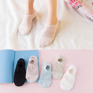Summer Korean New Elastic Soft Hollow out Thin invisibility Boat Socks Mesh Breathable Cotton Low Short Socks For Women Girls