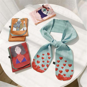 2020 scarf women bandana silk scarf foulard femme hair Versatile love printing Hair band double-deck Ribbon decorate