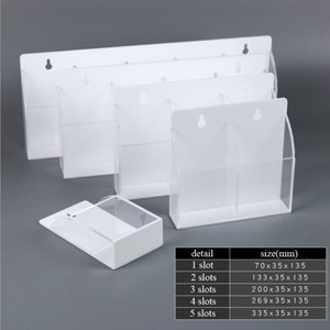 4 5 Slots Remote Controller Holder AC Control Storage Box Acrylic Clear-White Storage Box Wall-mounted Remote Control Rack Case Z1123
