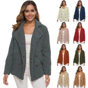 Women Double Breasted Jacket Lamb Wool faux fur coat winter warm Casual overcoat Fashion Outwear teddy coat