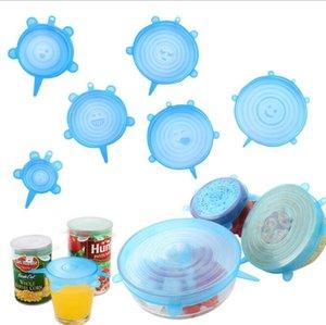 Silicone Stretch Suction Pot Lids Food Grade Fress Mantenimiento Wrap Seal Tapa Pan Tapa Cubra Multifunción Cocina Herramientas Accesorios DHB3623