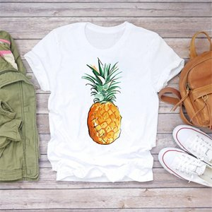 Women 2021 Summer Pineapple Watercolor Fruit Cute Cartoon Lady T shirts Top T Shirt Ladies Womens Graphic Female Tee Tops
