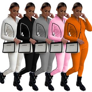 Solid Color Patchwork Tracksuits Womens Two Piece Sets Long Sleeve Slim Coats Casual Women Sports Fitness Pants