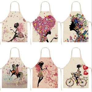 DIY Lady Home Pinafore Kitchen Cotton Linen Washable Aprons Flowers Bicycle Printed Daidle Lace Up Women Cooking Accessories 8 5mya G2