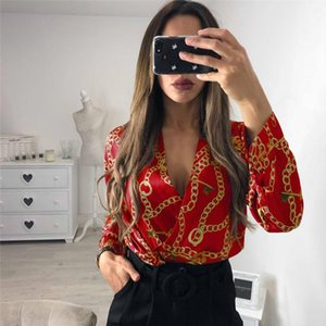 Vintage Silk Rompers Womens Jumpsuit Long Sleeve Chain Print Top Shirt Ladies Deep V Neck Key Printed Sexy Satin Bodysuits