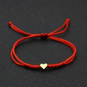 Oro plata amor corazón encanto pulsera mujeres hombres amantes 'deseo buenos suerte rojo cuerda trenzado pareja ajustable brazaletes amistad joyería