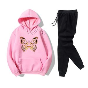 2020 Women Two Piece Set Autumn Spring Graphic Outfits Tiger Pattern Butterfly Hoodies and Sweatpants 2PCS Set#9
