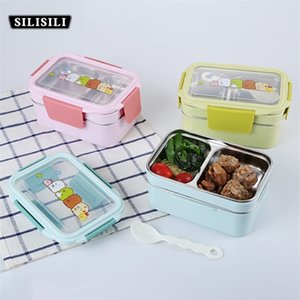 Portable Stainless Steel Lunch Box Double Layer Cartoon Food Container Box Microwave Bento Box for Kids Children Picnic School 201015
