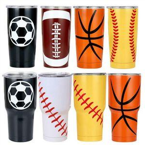 Baseball Travel Car Beer Vacuum Insulated Cups Double Stainless Steel Tumbler Mugs Softball Basketball Footbal ALSK316 DHE31