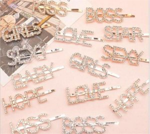 15 styles Silver Gold Letter Word Rhinestone Crystal Hairpin Hairgrip Hairclips Hair Clip Grip Pin Barrette Ornament Hair Accessories FY4345