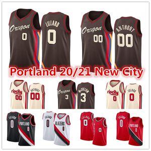 Erkekler Yeni Damian 0 Lillard Carmelo 00 Anthony PortlandİzBlazers2021 CJ 3 McCollum Red City New Edition Basketbol Formaları