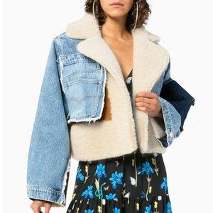 Mulheres Denim Sheepskin Jacket com Shearling Sherpa Forro de inverno casaco de pele de gola de pele jeans de pele de carneiro moda menina curta outwear