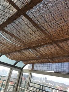 Carbonizzato canna tende decorazione dell'ufficio vintage curtain ombrellone adesivo cortina di muro di bambù erba divisoria