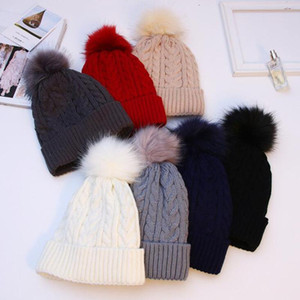 Trendy Winter Poms Ball Warm Thickened Wool Knitted Hats for Women Female Beanie Outdoor Pompom Skullies Beanies Cap Soft Hat