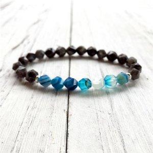 8 mm Sección Natural Aguitar Agatestone Y Gris Larvikita Pulsera Joyas de Hombres Personalidad Big Set Secre Beads Mala Yoga1