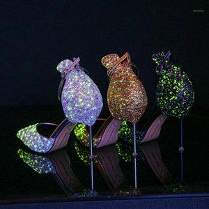 ODINOKOV EUROPEO RHINESTONE RHINESTONE Zapatos de cristal Stiletto puntiagudo Partido de boda Bridal Zapatos de la moda Tacones altos Luminous1