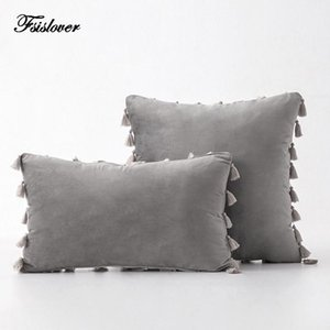 Fsislover 2020 Nordic Velvet Canapé Taie d'oreiller Couleur Sofa Sofa Coussin Coussin Coussin de décoration Accueil Tassel Funda Cojin