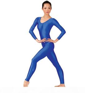 Sperise frauen glänzend langarm tanz unitard brupp erwachsene spandex gymnastik unitard schwarz volle body dancewear catsuits mädchen