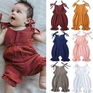 KT INS 6 Colors Toddler Girls Organic Linen Cotton Overalls Rompers Summer Baby Pants Solid Baby Jumpsuits Girls Cute Pants Suspender