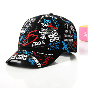 Spring graffiti printing baseball cap fashion casual hat long tail hip-hop hat wholesale cap