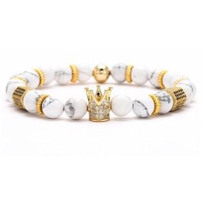 8mm XG453 Gold Argent Crown Crown Micro Pave CZ Zirconia Cubic Zircon Bracelet Noir Volcanique Lava Onyx Imperial Bracelets