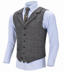 Tweed Mens Business Chaleco Boutique Wool Plaid Slim Fit Herringbone Grey Cotton Traje Chaleco Chaleco de chaleco para bodas Groomsmen