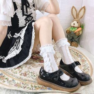2021Beyaz Lolita Bacak Çocuk JK Dantel Yay Orta Çorap