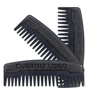 2020 Preminum OEM Custom LOGO Comb Wide Teeth Metal & Wooden Beard Comb Oil Hair Combs for Men