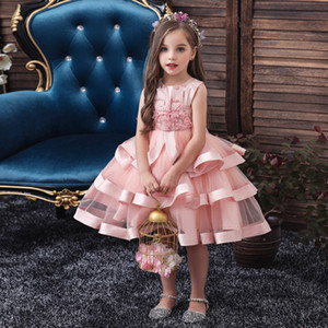 European and American girls' dress wedding flower girl dress with diamond embroidery mesh Princess cake skirt