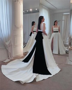Country Spaghetti A-line Wedding Dresses Sleeveless Backless Pleated Satin Split Floor Length Bridal Gowns With Black Belt P168