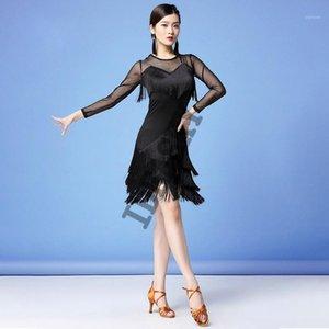 Escenario desgaste trajes de baile latino mujeres salsa dialwear disfraces vestidos de baile a salón de baile competencia adulto vestido franja latina1