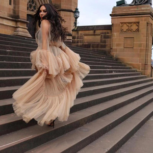 Fashion See Thru Women Tulle Dresses To Birthday Party Long Tulle Maternity Dress Robe Photoshoot Full Sleeves Bridal Night Gown1