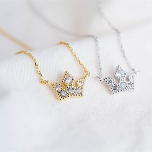 Trendy Classic Crown With Rhinestones Pendant Necklace Gold Silve Rose Three Color Optional Suitable for Girl And Women