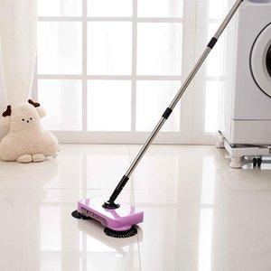 2 en 1 Portátil de acero inoxidable Mano Push Sweepers Mano Push Magic Broom Suelo Polvo Sweepers Dustapspan Herramientas de limpieza de la casa