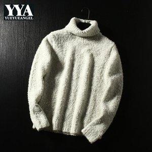 Männer turtkragen pullover cremeweiß koreanische stil stricken pullover männlich herbst winter woolen verdickung warme massiv wolle tops