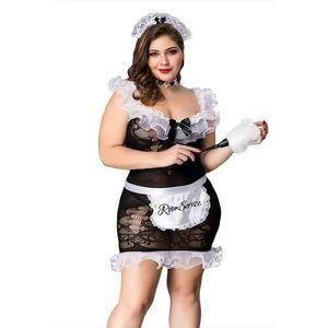 Grande Uniforme Fat Lady Maid Set Plus Size Cosplay Preto cinco Lingerie para mulheres Erótico Porno Hot