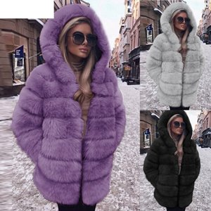 JAYCOSIN Womens Coats Solid Women Fashion Luxury Faux Fur Coat Hooded Autumn Winter Warm Overcoat 18Oct19